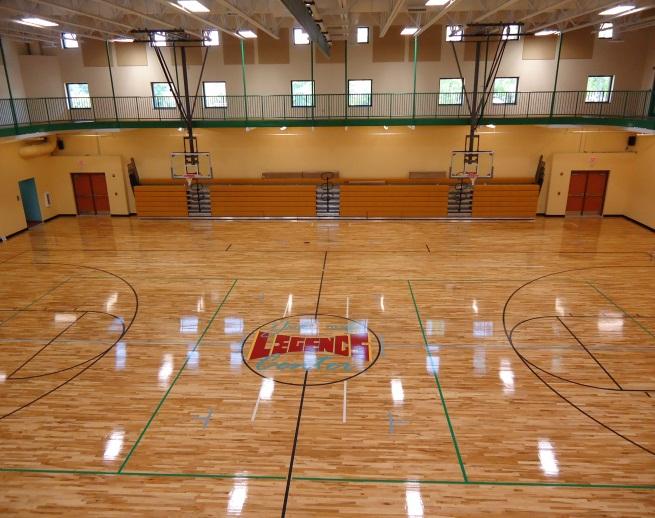 Gymnasium with athletic flooring