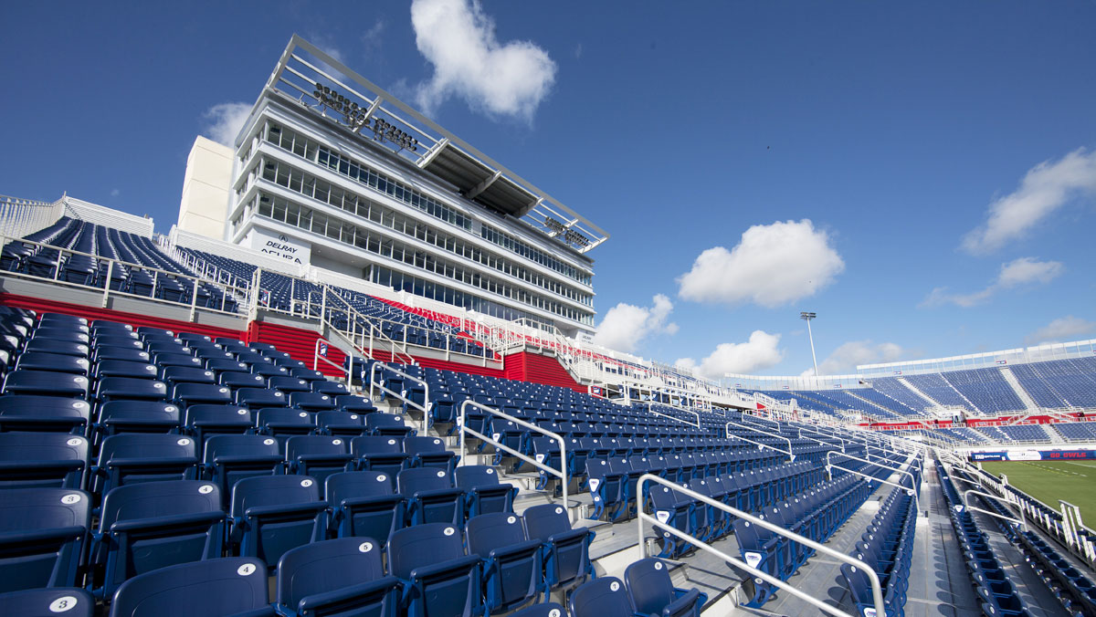 FAU outdoor bleachers in navy, red, and white