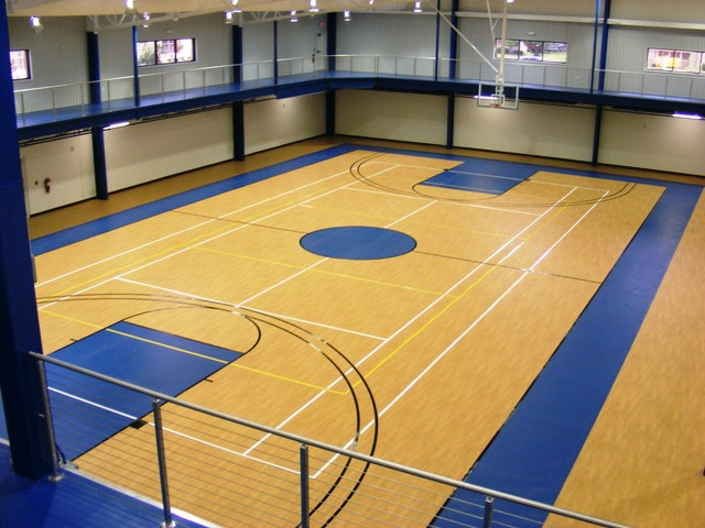Basketball court with athletic flooring