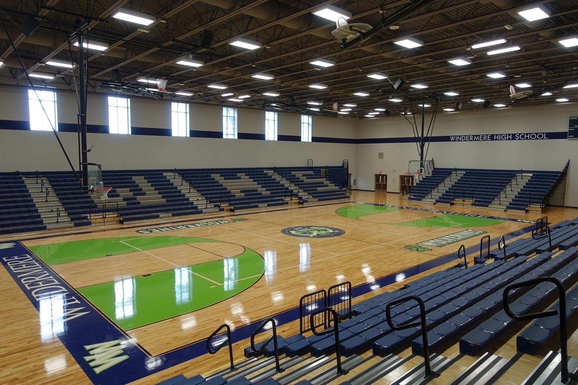 Windermere High School gymnasium flooring and seating