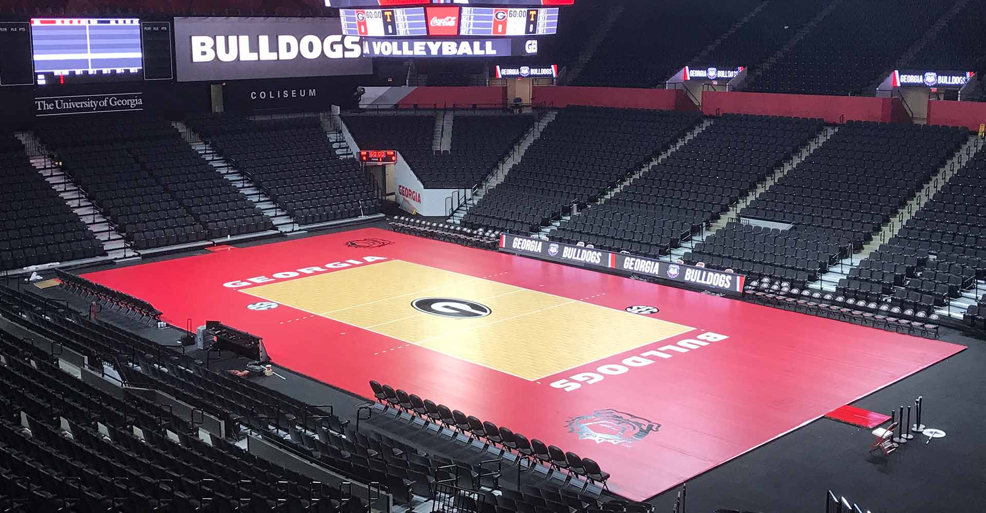 Bulldogs Volleyball Court Floor Surface and Spectator Seating